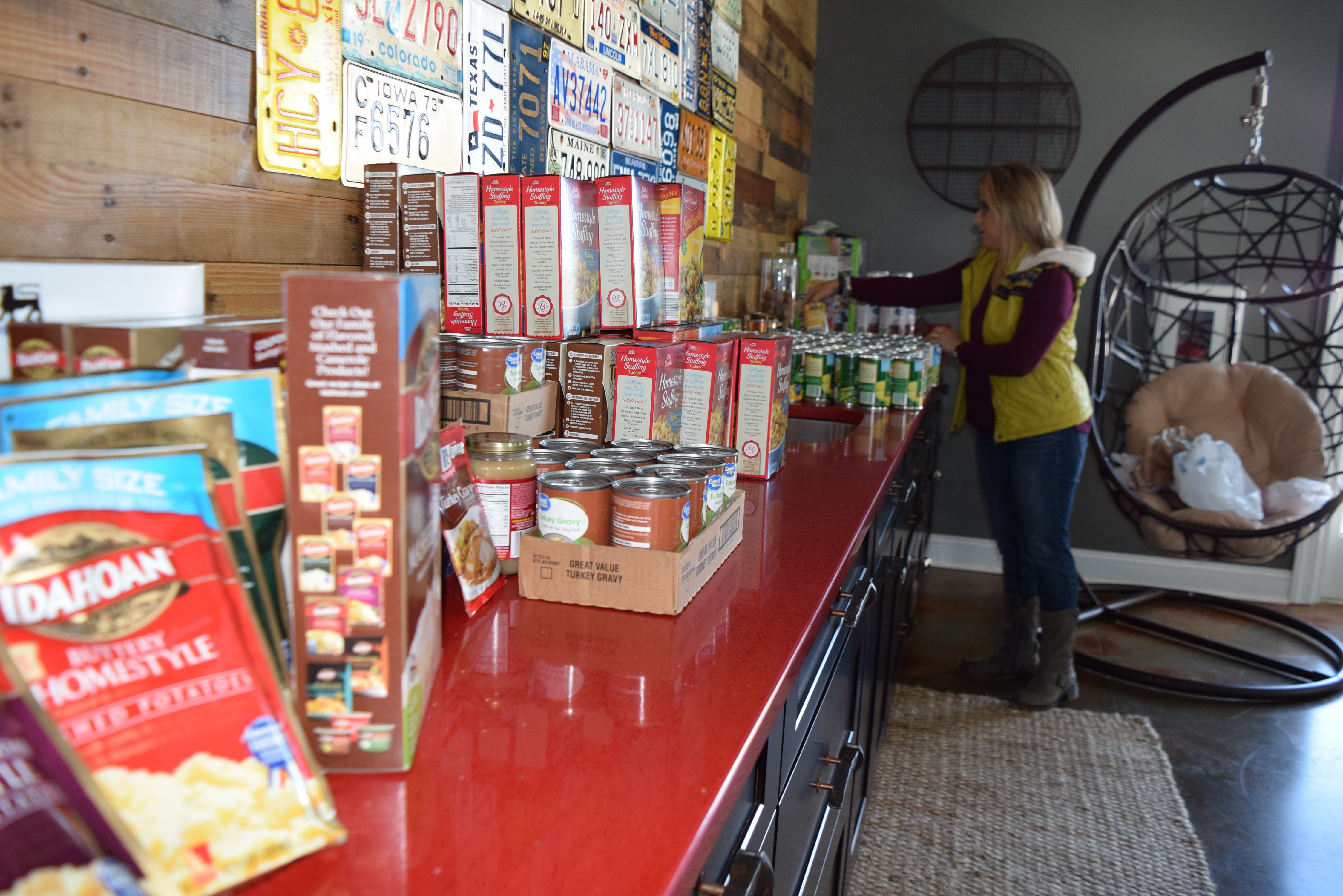 Stacking up Choptank Transport donations for Thanksgiving dinners