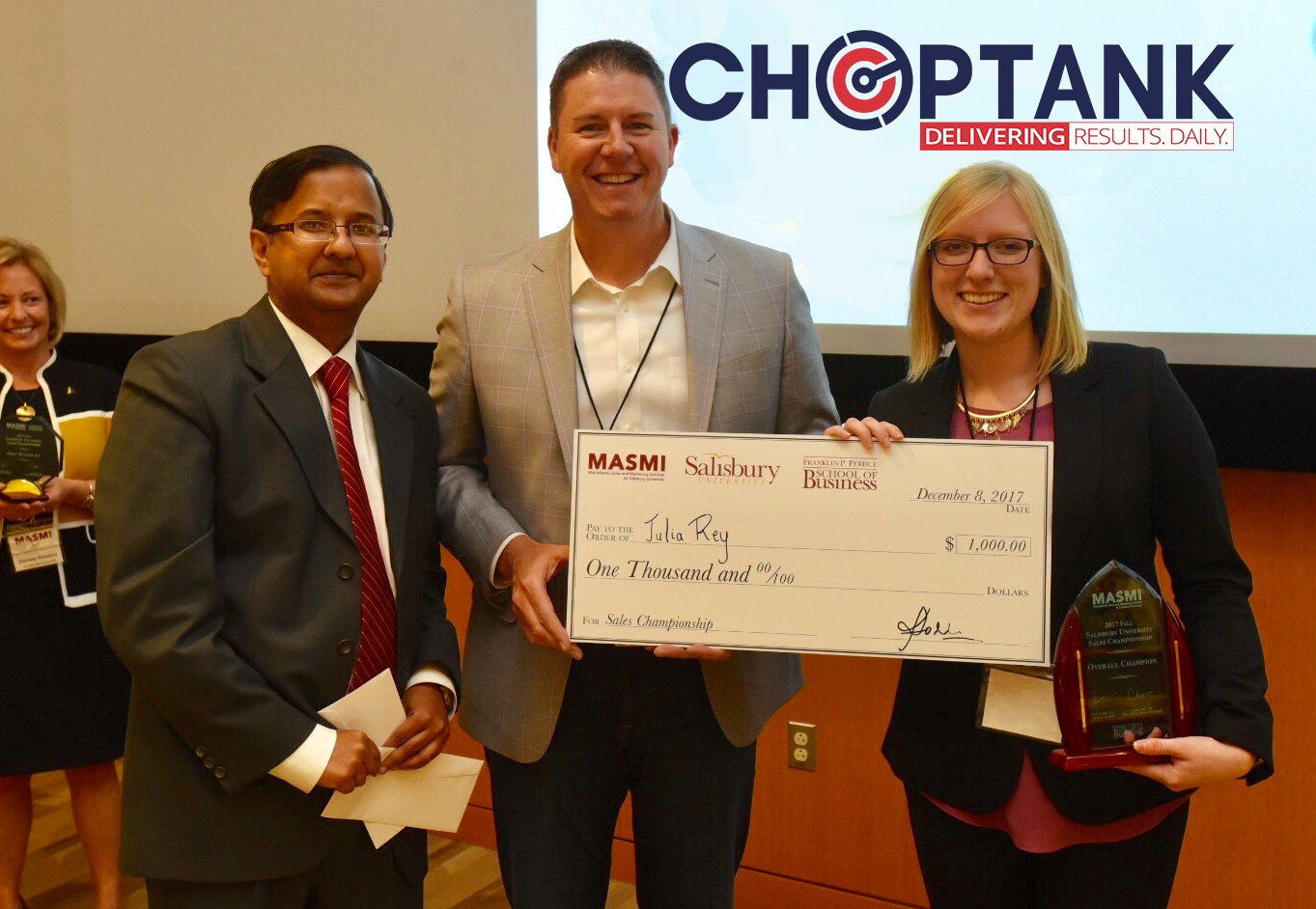 L-R Amit Poddar, Geoff Turner and Julia Fey, Choptank Sales Program award winner at Salisbury University.jpg